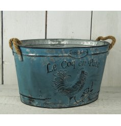 A large blue shabby chic planter