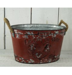 A medium red Le Coq En Pate zinc planter