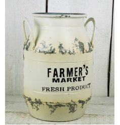 Large white weathered farmers market churn