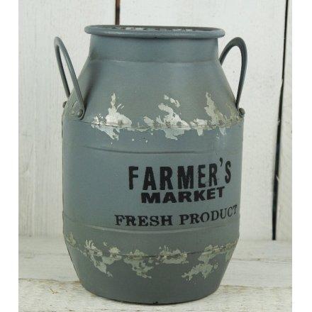 Grey Farmers Market Churn Metal 29cm