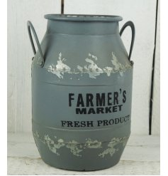 A grey zinc metal farmers market churn