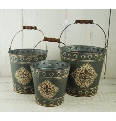 An set of 3 grey metal buckets with Fleur De Lis Design