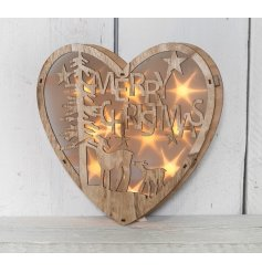 Wooden Heart Christmas Light