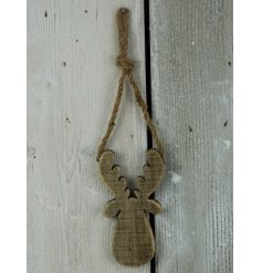 A small wooden moose hanging decoration