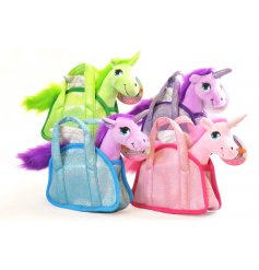 A quirky little assortment of coloured Unicorn soft toys complete in their own colour coordinated carry bags