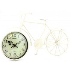 A stylish vintage themed bike clock, finished in a distressed cream colour