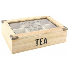 Bring home that vintage farm house feel with this natural toned wooden teabox