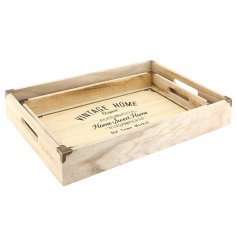 Bring home that vintage farm house feel with these natural toned wooden serving trays