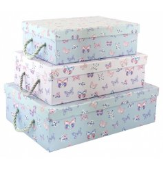 From the stylish range of 'Butterfly Paradise' is this trending storage set of 3 butterfly patterned trunks