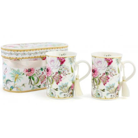 Floral Bouquet Mugs Set Of 2