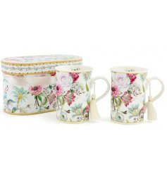 A beautifully delicate line of pink and white hued floral printed mugs