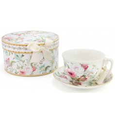 A beautifully delicate line of white and pink hued floral printed kitchenware