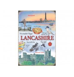 A country charm inspired hanging metal sign, filled with all the great things of Lancashire