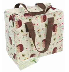 An eco friendly Honey Hedgehog design lunch bag made from recycled bottles with a brown woven handle.