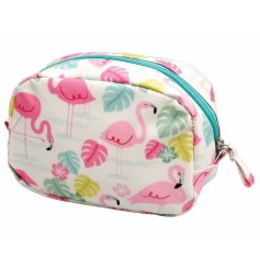 A pretty and practical oil cloth make up bag in the popular Flamingo Bay design.
