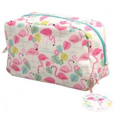 This fun flamingo themed oilcloth washbag is a stylish yet practical gift idea for any birthday