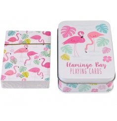 A set of playing cards with a metal tin in the popular Flamingo Bay design.