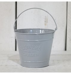 A stylish chic themed grey planter bucket, finished with the popular embossed 'Flowers & Garden' look