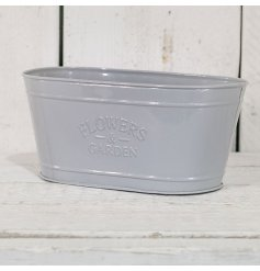A stylish chic themed grey planter trough, finished with the popular embossed 'Flowers & Garden' look