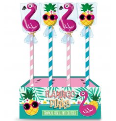 funky assortment of pencils, perfectly topped with funky flamingo and pineapple erasers