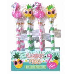 A fun and tropical themed set of pencils complete with flamingo and pineapple eraser toppers