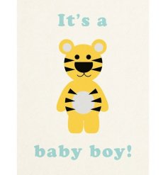 Its A Boy Greeting Card with tiger