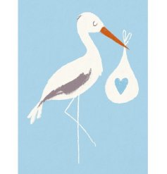 New Baby & Stork Blue Greeting Card