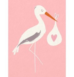 New Baby & Stork Pink Greeting Card
