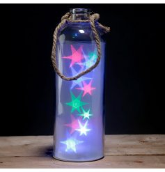 Decorative Large Glass Jar   A stylish purple glass jar with fitted multi toned led lights