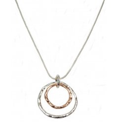 A stylish multitone of silver and gold make up this simple hanging ring necklace