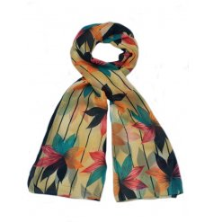 a colourful array of floral themed scarves,