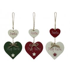 3 nordic inspired hanging heart decorations, perfect for the christmas period