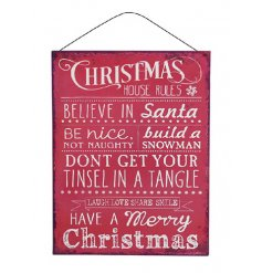 Christmas House Rules Plaque  A funky red metal plaque with all the family rules of christmas printed on it