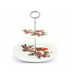 A sweetly decorated 2 tier cake stand
