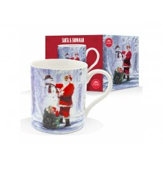 Add some yummy christmas hot chocolate in this this vintage scene inspired mug