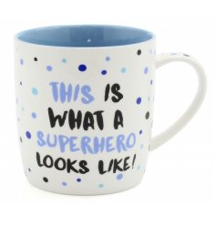 A trendy blue toned china mug with a comical script quote across the front