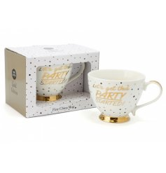 Get the party started with this funky golden toned china mug