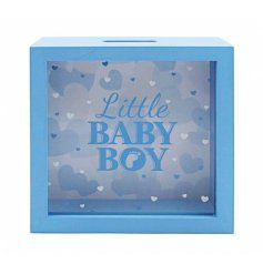 This sweet baby blue wooden money box is a great way to save for the arrival of your little prince