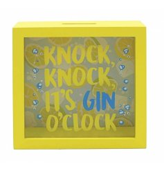 Save up for the that much needed gin with this quirky yellow funds box