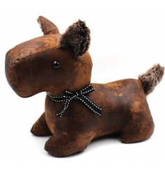 Bring home a rustic and distressed look with this faux leather dog doorstop