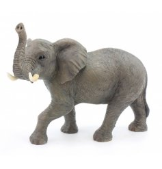 This beautifully detailed standing resin elephant will be a perfect decorative addition to any home