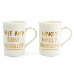 Drink your morning coffee in style with this quirky his and hers themed mug set