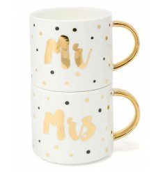 Mr & Mrs Stack Mugs Gift Boxed
