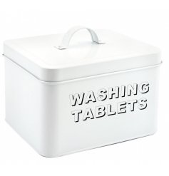 Store away all your washing up essentials with this stylish all white metal box
