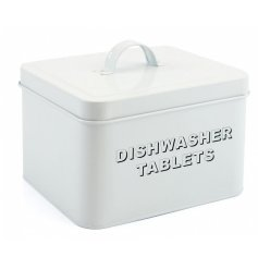 Dishwasher Tablets Metal Tub   Store away all your washing up essentials with this stylish all white metal box