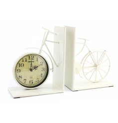 This shabby chic themed set of bookends also duo as a quirky clock