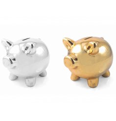 This bold metallic coloured assortment of piggy banks are a great way to save your pennies