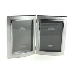 A beautiful modern inspired twin photo frame, complete with a matte and sleek silvered look