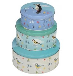 A set of 3 Garden birds nesting tins