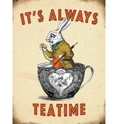 A retro themed mini metal sign with an added Alice In Wonderland decal